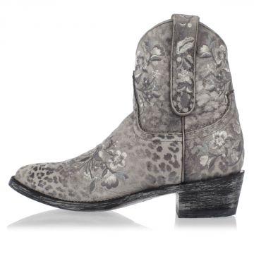 Stivali Texani Ricamati in Pelle