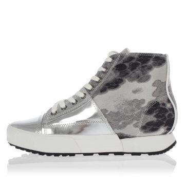 Sneakers Alte in Tessuto e Pelle