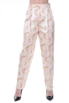 Silk Blend Floral Printed Pants