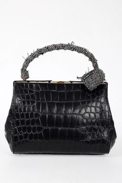 Crocodile Print Leather Handbag
