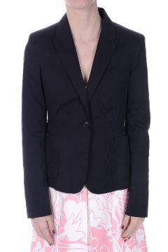 Single Breasted Stretch Poplin Blazer