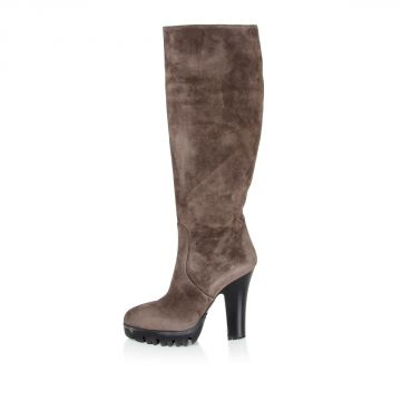 Sueded high boots zip closure