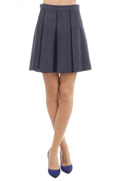 Lace and denim Skirt with Pleats