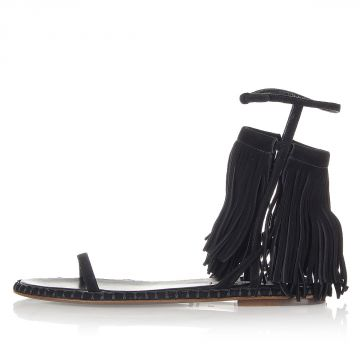 Suede Leather Sandals with Fringes