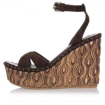 11.5 cm Engraved Wooden Wedge Suede Sandals
