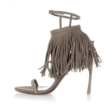 Suede Sandals with Strap and Fringes Heel 10.5 cm