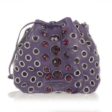 Leather Bucket Bag with Jewel Inserts