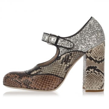 Python Skin and Glitter Sandal with 10 cm heel