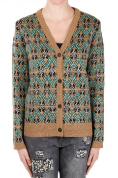 V neck Virgin Wool Blend Cardigan
