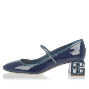 Patent Leather Shoes with Jewel Heel