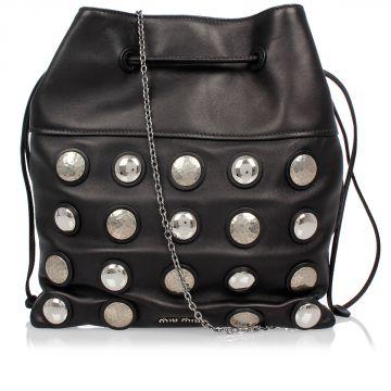Bucket Shoulder Bag in Leather