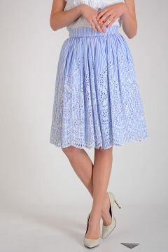 Cotton Blend Midi Skirt