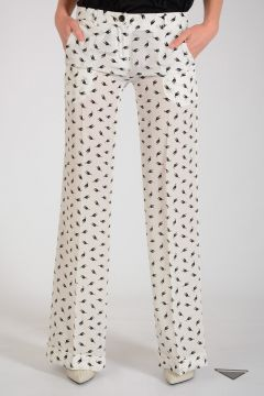 Cat Printed Silk Pants