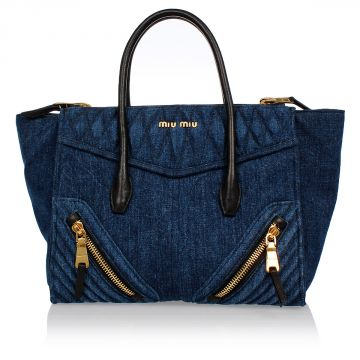 Denim and Leather BIKER Bag