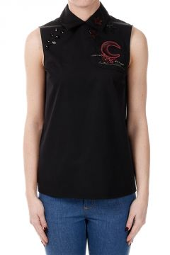 Embroidered Popeline Cotton blouse Sleeveless
