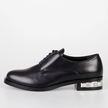 Leather Derby Shoes with Embellished Heel