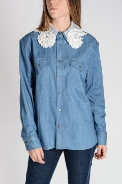 Denim Blouse with Macramè Collar