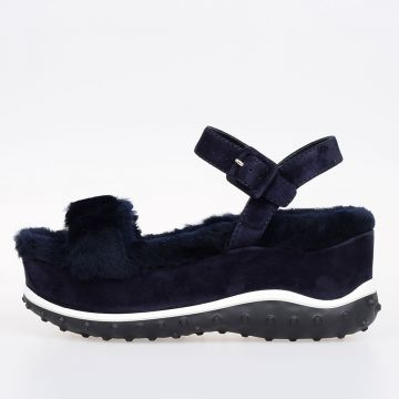 Real Fur Leather Platform Sandals