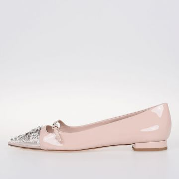 Jewel Chic Details Leather Ballet Flat