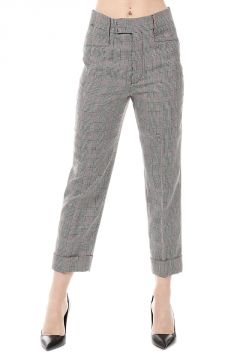 Virgin Wool Blend Checked Pants