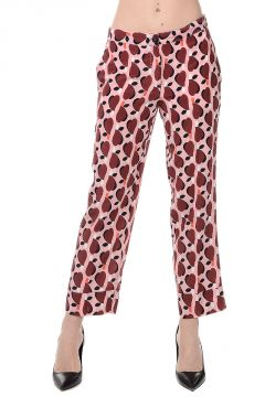 Silk Geometric Pattern Trousers