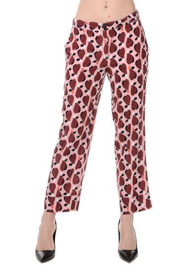 Silk Geometric Pattern Trousers