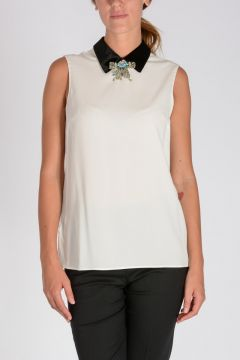 Sleeveless Blouse With Jewel Details