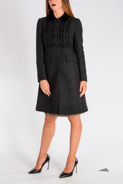 Wool Tricot Coat with Lace Inserts