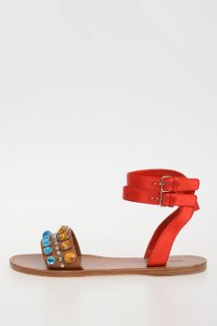 Leather jewel Sandal With Satin