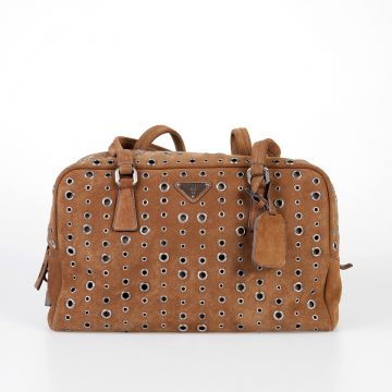 Suede Bowler Bag with Eyelets