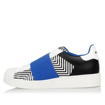 Leather Slip on Printed Sneakers