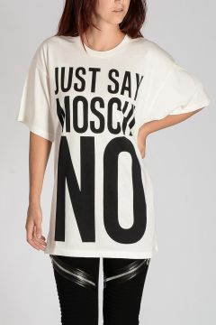 COUTURE! T-shirt JUST SAY MOSCHINO In Cotone Jersey