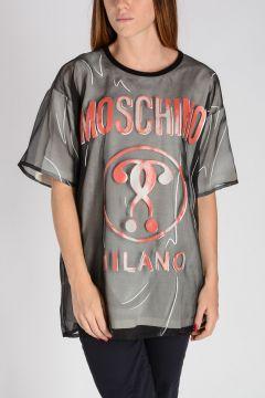 COUTURE! T-shirt in Cotone con Inserto in Seta