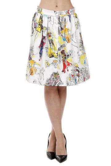 Sketch Printed Skirt with Buttons On The Front