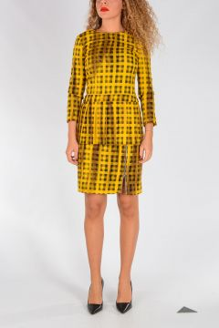 Wool Blend Checked Dress
