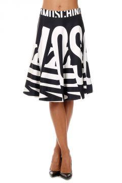 Flared Moschino Print Silk Skirt
