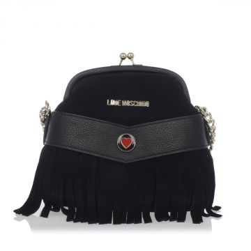 Suede Cross Body Bag with Fringes