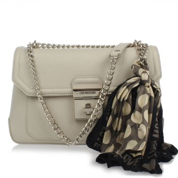 Shoulder bag with gold chain strap and foulard