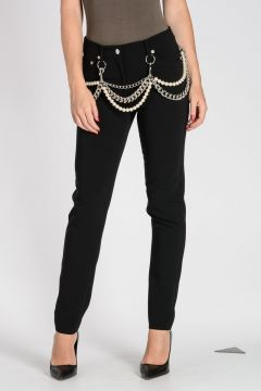 COUTURE! Five pockets Pants With Chain