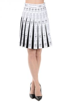 Virgin Wool and Cotton Pleated Skirt