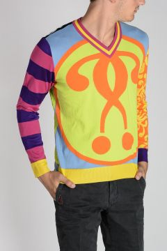 COUTURE! Multicolor Intarsia Cotton Sweater