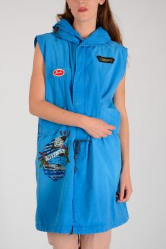 Embroidered Sleeveless Parka