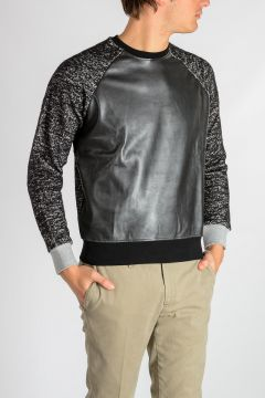 Cotton & Wool Sweatshirt with Faux Leather Detail