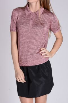 Lurex Knitted Polo Shirt