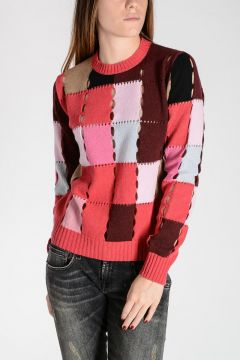 Wool Blend Patchwork Sweater with Holes