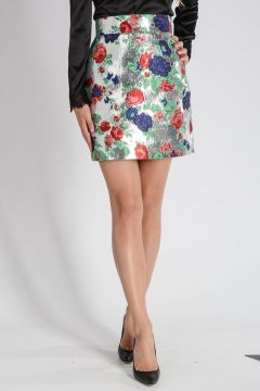 Silver Floral Brocade Skirt