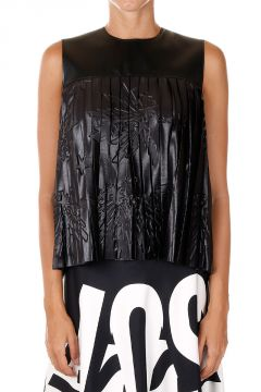 Pleated Faux Leather tank Top
