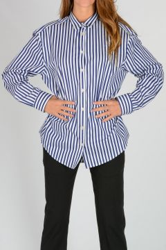 Cotton Popelin Striped Shirt