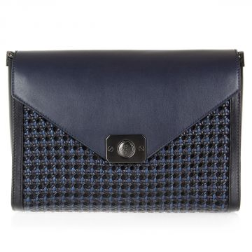 Envelope Shoulder Bag with Woven Leather Panel