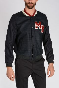 Wool blend Jacket With Logo embroidery